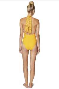 PRE ORDER Avec Les Filles Solid Eyelet High Neck One Piece Swimsuit - Gold - Back