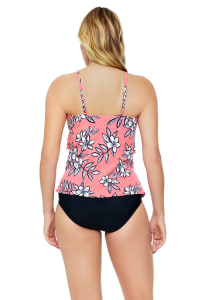 Pre-Order Penbrooke Catalina Coral Hi Neck Ruffle Tankini Swimsuit Top - Coral - Back