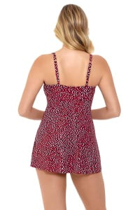 Pre-Order Penbrooke Baby Spice Shirred Bodice Flyaway Swimdress Swimsuit - Brick - Back