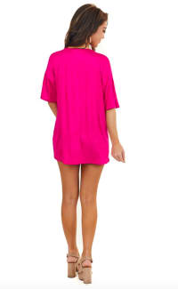 Pre-Order Low V Laced Oversized Tee - Pink - Back