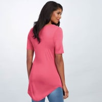 Pre-Order Basic V Neck Long Tee - Pink - Back