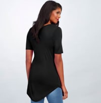 Pre-Order Basic V Neck Long Tee - Black - Back