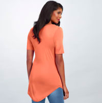 Pre-Order Basic V Neck Long Tee - Coral - Back