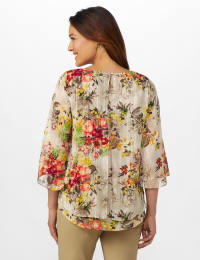 Fly Away Back Floral Lurex Poncho Blouse - Misses - Taupe - Back