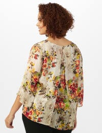 Fly Away Back Floral Lurex Poncho Blouse - Plus - Taupe - Back