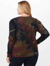 Tie Dye Puff Sleeve Sweatshirt - Plus - Black/Brown - Back