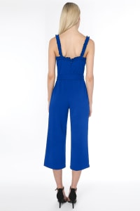 Bebe Waist Tie Cropped Jumpsuit - royal - Back