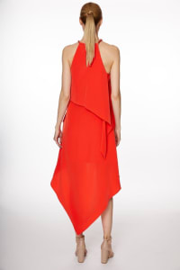 Pre-Order Chain Neck Tiered Hi/Lo Dress - Misses - Poppy Red - Back