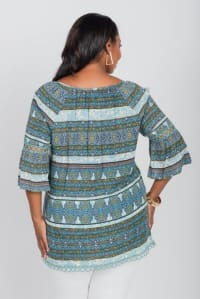 Pre-Order Wakeful Moment Blouse Tunic - Plus - Blue - Back