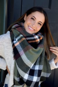 Pre-Order Everyday Wear Blanket Scarf - Olive - Back