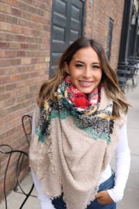 Pre-Order Colorful Blanket Scarf - Cream - Back
