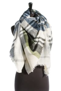 Pre-Order Green & Navy Blanket Scarf - Cream / Green / Navy - Back