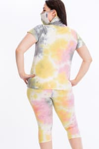 Pre-Order Tie Dye Lounge Set With Built In Mask - Multi - Back