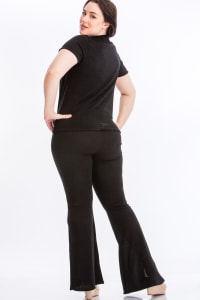Pre-Order Tie Top And Split Bell Pant Lounge Set - Black - Back