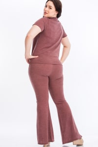 Pre-Order Tie Top And Split Bell Pant Lounge Set - Mauve - Back