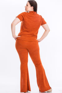 Pre-Order Tie Top And Split Bell Pant Lounge Set - Rust - Back