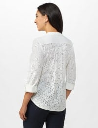 Eyelet Knit Pintuck Popover - White - Back