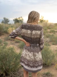 Ombre Mixed Animal Dress - Natural - Back