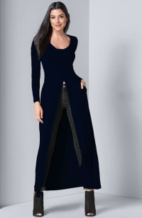 Pre-Order Front Slit Long Sleeve Shirt with Pockets - Navy - Back