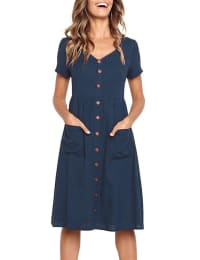 Pre-Order Buttoned V-Neck Dress With Pockets - Navy blue - Back