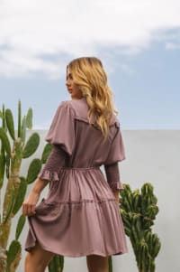 Pre-Order Simone Dress - Plus - Dusty Rose - Back