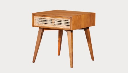 Vinny Rattan Bedside Table High Square