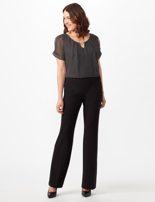 Secret Agent Pull On Tummy Control Pants - Tall Length - Misses - Black - Front