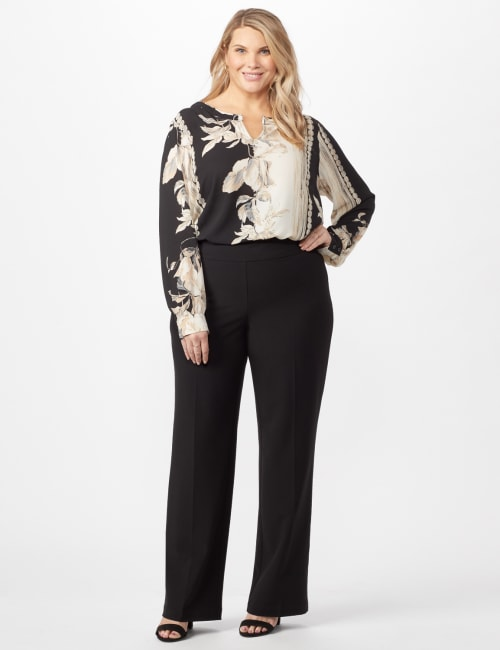 Secret Agent Pull On Tummy Control Pants - Tall Length - Black - Front