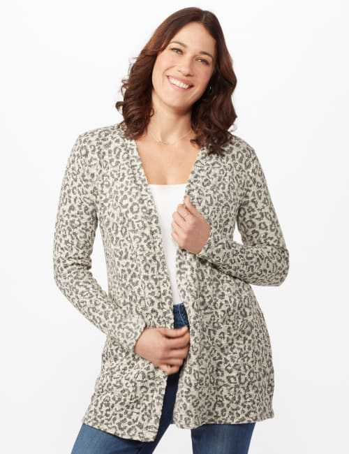 Animal Jacquard Duster - White/silver - Front
