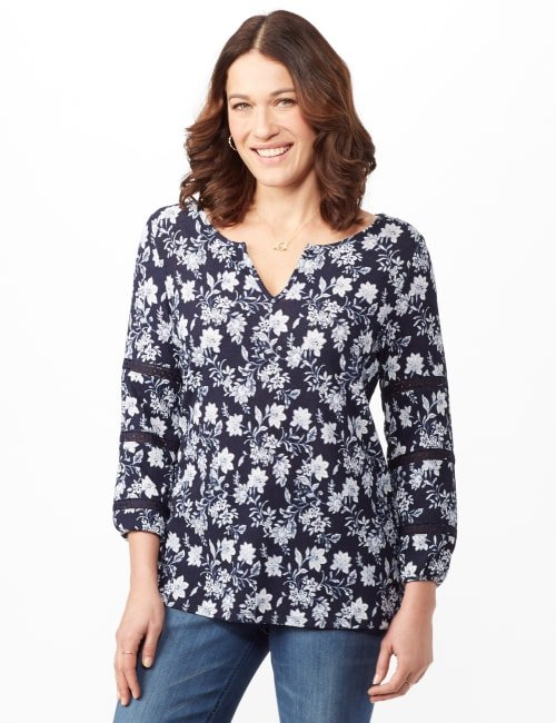 Long Sleeve Floral Knit Top with Lace Inset - Blue - Front