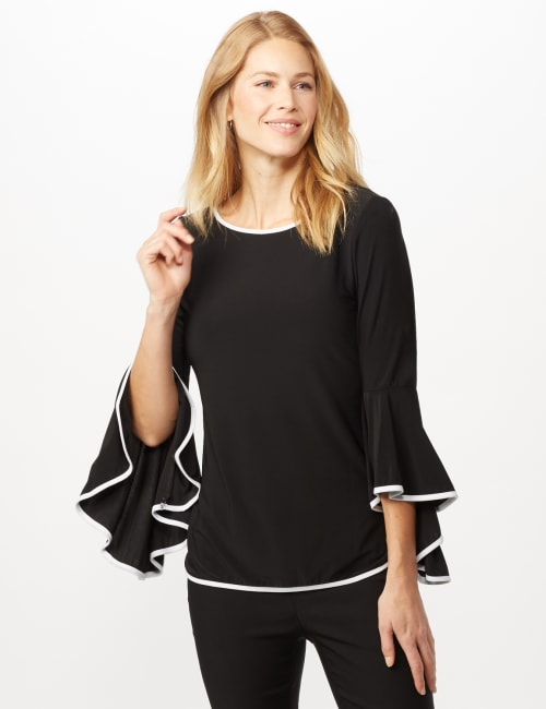 Piped Bell Sleeve Knit Top - Black/white - Front