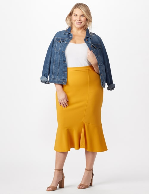 Flounce Skirt Plus - Gold - Front