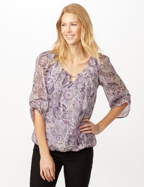 Paisley Floral Bubble Hem Woven Top with Chain Neck Detail - Purple - Front