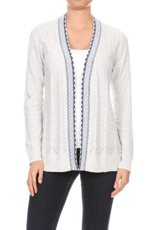Embroidered Placket Cardigan with Pointelle Detail - Heather Grey - Front
