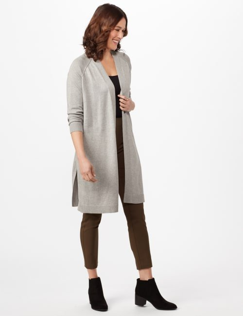 Long Sleeve Duster with Side Slits - Heather Grey - Front