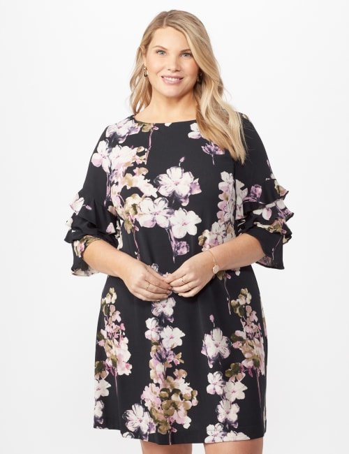 Chacha Sleeve Knit Crepe Floral Sheath Dress Plus - Navy/lavender - Front
