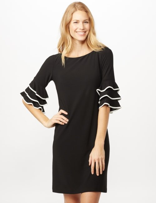 Ruffle Chacha Sleeve Sheath Dress - Black/ivory - Front