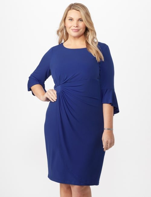 3/4 Wrap Dress with Side Ruching - Royal - Front