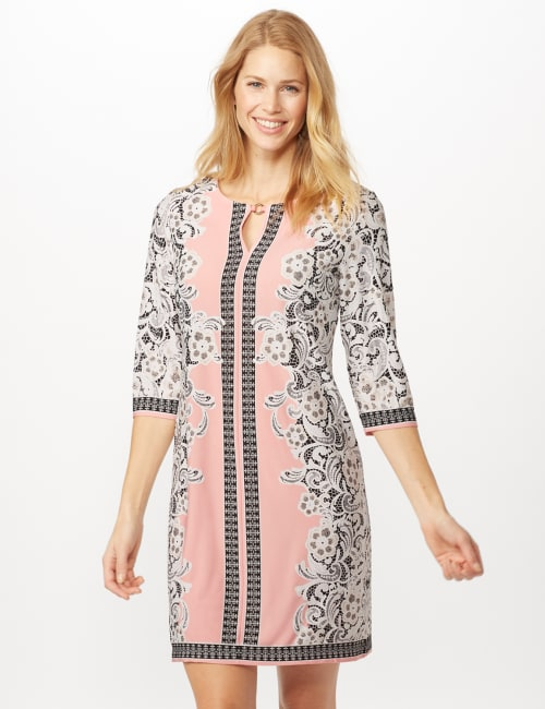 Placed ITY Puff Print Dress - Blush/ivory - Front