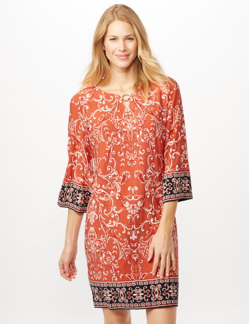 Scroll Puff ITY Border Print Dress - Orange - Front