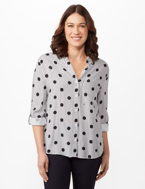 Roll Tab Sleeve Dot Stripe Button Up Shirt - Black/white - Front