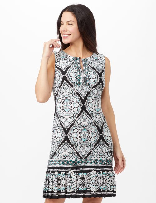 Medallion Puff Print with Pleat Hem Dress - Black/Aqua - Front