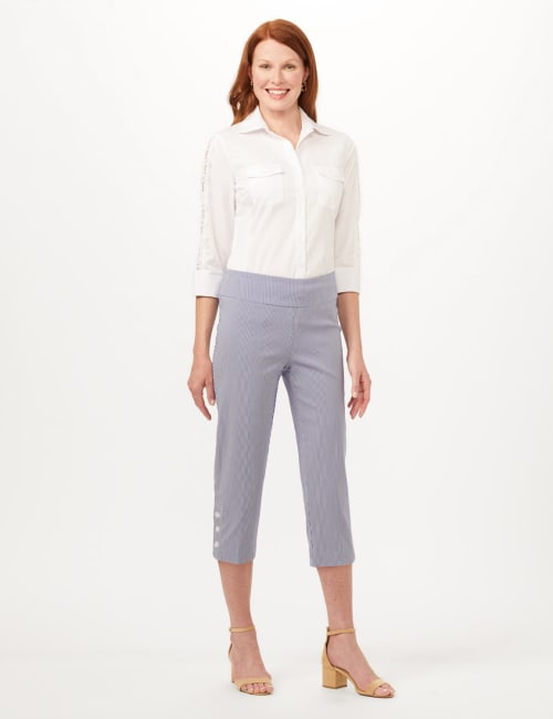 Striped Pull-On Crop Pants - Blue/White - Front