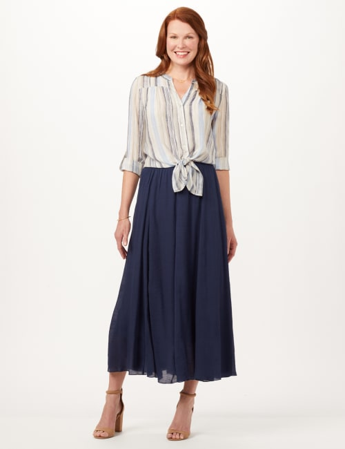 Textured Pull-On Skirt - Deep Pacific Blue - Front