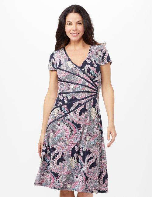 Paisley Seam Detail Dress - Navy/Pink - Front