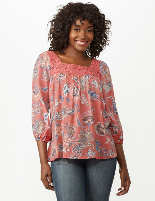 Crochet Trim Floral Square Neck Top - Coral - Front