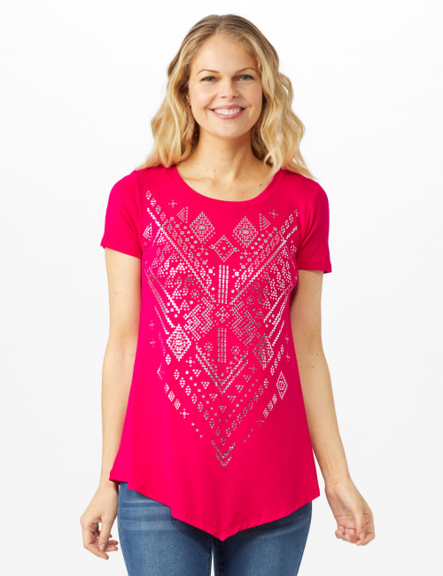 V Front  Knit Screen Tunic - Fuschia - Front