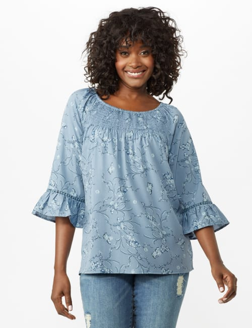 Flare Sleeve Smock Neck Vine Floral Top - Misses - Blue - Front