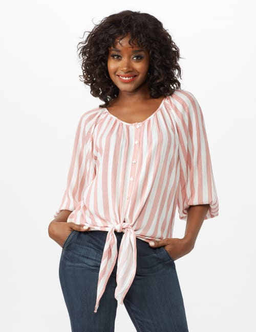 Stripe Button Front Peasant Top - Coral/Ivory - Front