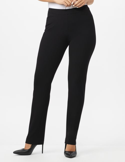 Secret Agent Pull On Pant with Pockets - Short Length - Black - Front